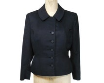 vintage 1950s fitted jacket / black / wool / Carmel Designs / late 40s early 50s / film noir / women's vintage jacket / size large