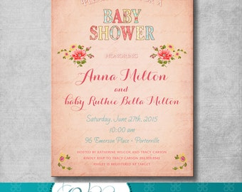 Shabby Chic Baby Shower Invitation - Pink - Floral - Birthday - Bridal Shower - Digital File - Customizable - Printable - DIY - 5x7