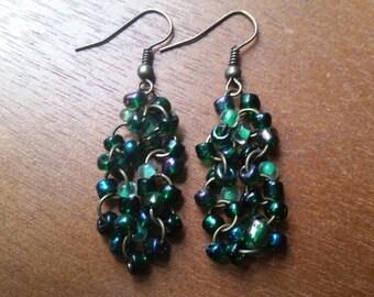 Green Seed Bead Dangle Earrings