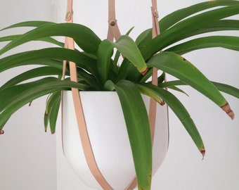 Hanging Plant Holder nude recycled leather with brass rivets - modern macrame - small medium large