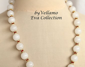 White jade gemstone with ruby necklace, Swarovski spacers, fine summer breeze fashion necklace, beach beaded necklace