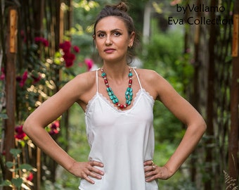 Statement chunky necklace with natural turquoise gemstones and red coral, unique design fashion bib necklace, two strand handmade necklace