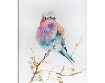 Colorful Bird Art 'Lilac Bird' Modern Watercolor Rainbow Birds Artwork, Traditional/Contemporary Wall Decor, Metal Giclee Painting by Sophia