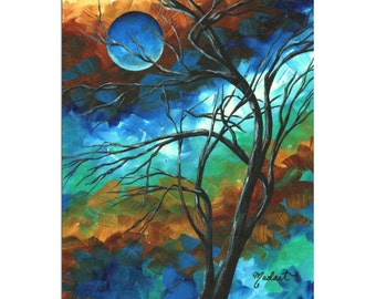Whimsical Tree Art 'Mystery of the Moon' Turquoise Gold Landscape Artwork, Abstract Tree Painting Metal Giclée, Modern Art - Megan Duncanson