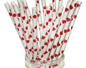 Red Heart Paper Straws, Valentine's Day Party Decor