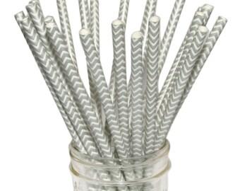 Metallic Silver Chevron Paper Straws, Wedding Straws, Pewter