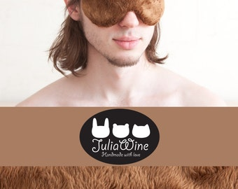 Bear Sleep Mask Brown Mens Accessories Fluffy Bear Mask gift for him Fluffy Travel Mask Best Fathers Day Gifts Vacation Accessories