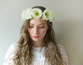 Ivory Woodland Flower Crown 'Cecile' - Full Circlet - Rustic Wedding Bridal - READY TO SHIP