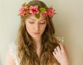 Rosekin Fairy Headpiece - Pink Rose Bridal Crown - Rustic Weddings