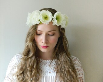 sale - Ivory Woodland Flower Crown 'Cecile' - Full Circlet - Rustic Wedding Bridal - READY TO SHIP