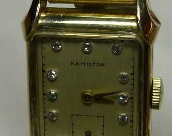 "Vintage 1940s Mens Hamilton ""Milton"" Wrist watch with a Diamond Dial"