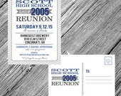 High School Reunion Postcard Invitation - Herringbone - Chevron - Custom School Colors