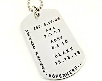 Hand Stamped Dog Tag - Husband Father Superhero - Custom Mens Jewelry Personalized Daddy Necklace Fathers Day Gift - Child Names & Dates
