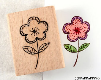 20% Sale PPaPPaPPiYo Flower 01 Rubber Stamp