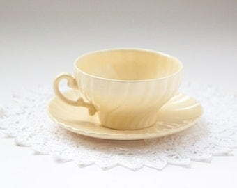 Coronado Yellow Tea Cup and Saucer by Franciscan