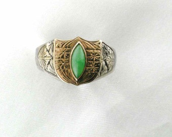 Bezel Set Marquise Shaped Jade Ring with Silver Shank and 18 Karat Yellow Gold Top-Hallmark