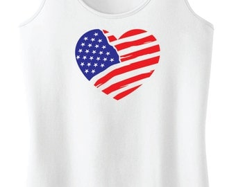 American Flag Heart Racerback Tank Top {4th of July}