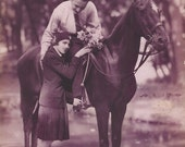 In Aubergine - Vintage 1920s Business Class Lovers and Horse Faux Real Photo Postcard