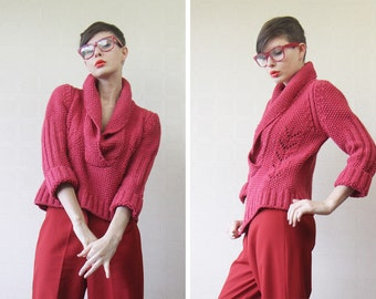 Red chunky knit shawl collar oversized boyfriend sweater