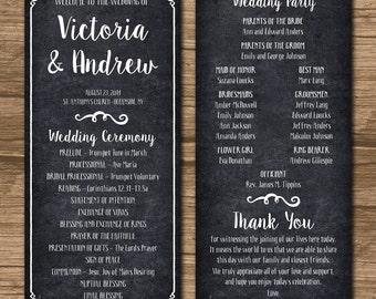 Rustic Wedding Program, Ceremony Program - PRINTABLE files - rustic wedding, garden wedding, chalkboard, blackboard, kraft paper - Victoria