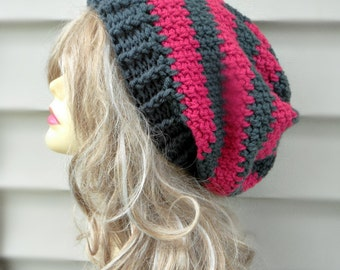 Pink Slouchy Hat, Womens Slouch Beanie, Winter Accessories, Winter Hat Crochet Hat, Multi Color Beanie