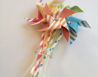 Paper Pinwheels // Non-Spinning Paper Pinwheels // Rainbow Paper Pinwheels // Paper Pinwheels // Pinwheel Cake Toppers // Citrus Party Decor