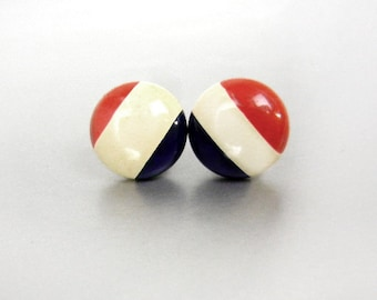 Vintage red white & blue post earrings from 1960s // patriotic jewelry // 4th of July earrings