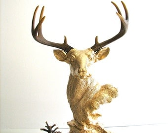 Deer Head Bust Statue in DARK GOLD with natural-looking antlers table top stag animal statue jewelry hanger woodland office nursery kids rm