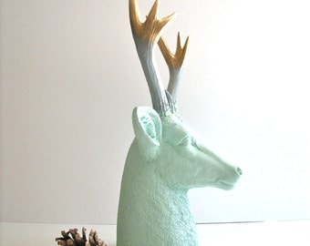 CHOOSE ANY COLORS Deer Head table top animal bust statue customize any 3 colors // unique gift //faux deer //woodland decor //nursery //