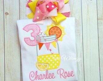 Lemonade Birthday Applique Shirt- Summer Birthday Girl Shirt- Girl Lemonade embroidered shirt- Pink lemonade shirt- First Birthday- Birthday