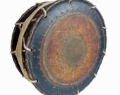 Antique Japanese Drum. Shimedaiko. Nodaiko. Taiko drum for Noh Theater & Japanese music. Meiji period antique musical instrument.