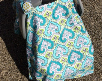 Baby Car Seat Canopy COVER or NURSING Cover: Modkid Flowers Fleur de Lis with Aqua Teal Minky Interior, Personalization Available