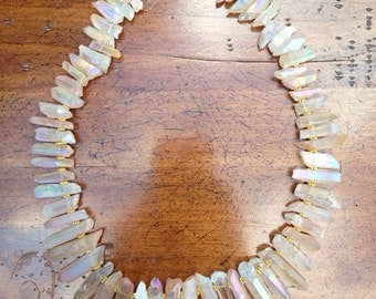Quartz and gold stone statement necklace