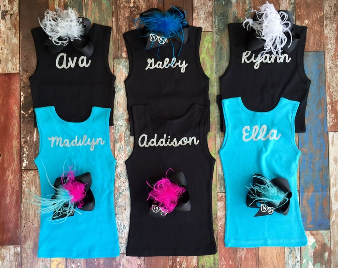 Monogrammed Tank top, Custom Tank Tops, Girl's Tank Tops, Dance Tank Tops, Group Discounts, Dance School Tank Tops