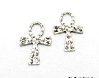 ankh cross pendant silvertone 36mm - 2 pieces