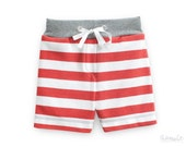 toddler boys jersey knit pull-on shorts, red-white striped shorts, 100% organic cotton