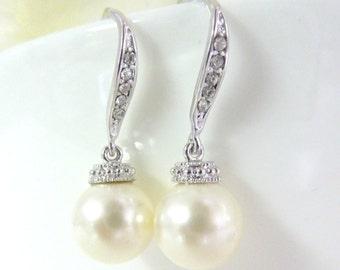 Bridal earrings Swarovski cream pearl earrings rhodium plated rhinestone dangle drops