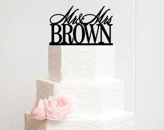 Mr and Mrs Wedding Cake Topper Customized With YOUR Last Name - POG0085