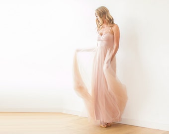 Pink maxi tulle ballerina gown, Sweetheart neckline maxi gown