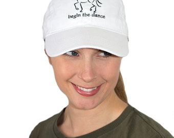 "Dressage Hat, Horse Baseball Cap, ""Begin the Dance"" Equine Design by Sandra Beaulieu, Equestrian Style, Horse Hat, Horse Holiday Gift"