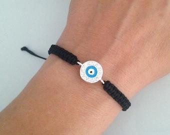 Crystal Evil Eye of Protection Adjustable Macrame Bracelet