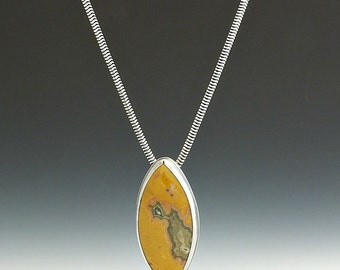 Silver Necklace, Ocean Jasper Necklace, Sterling Silver, Ocean Jasper, Metalsmith Jewelry, Handmade, Gemstone Jewelry