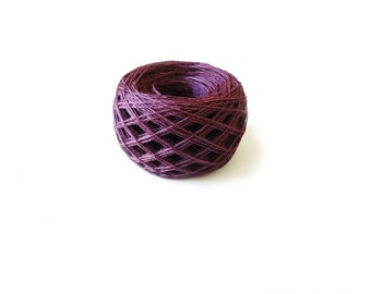 Linen yarn, linen thread, linen natural 4ply yarn, Lithuanian linen, burgundy yarn