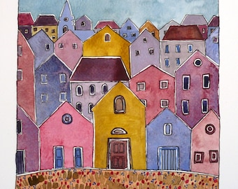 Pastel Colors Art, Hill Town , Townscape Painting,Wall Art Girl's Room Decor ,   Watercolor Original