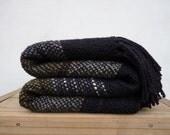 Black Lap Throw Afgan Merino Wool - Cozy Wedding Gift