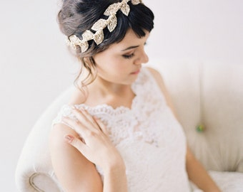 Beaded Leaf Champagne Bridal Headband, Champagne Leaves and Crystals Headpiece #211HB