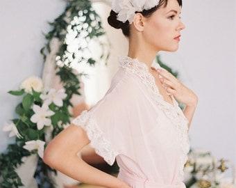 2 Silk Bridal Hair Flowers with Crystals and Pearls, Handmade Silk Organza Flowers #103HC