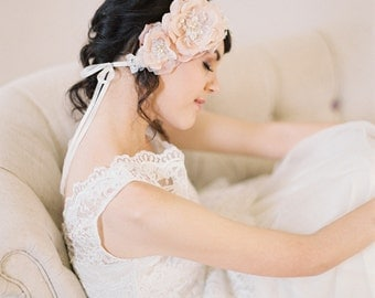 Blush Silk Flowers and Lace Bridal Headpiece, Handmade Silk Satin Flowers with Lace Headband #206HB