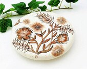 Ceramic Trivet, Hot Pad Coaster, Hand Painted with Brown Wild Flowers, Signed by Artist, Vintage Handmade Ceramic Trivet