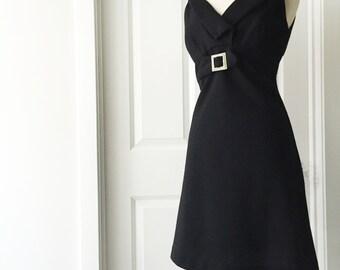 Vintage 60s black dress/ LBD/ Nancy Amory Knits dress/ A-line/ rhinestone buckle/ empire waist